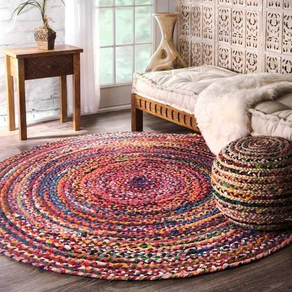 The Curated Nomad Grove Handmade Braided Multicolor Area Rug - 6' Round