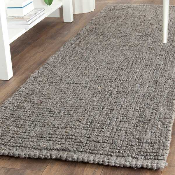 Safavieh Casual Natural Fiber Hand-Woven Light Grey Chunky Thick Jute Rug - 2'6' x 10'