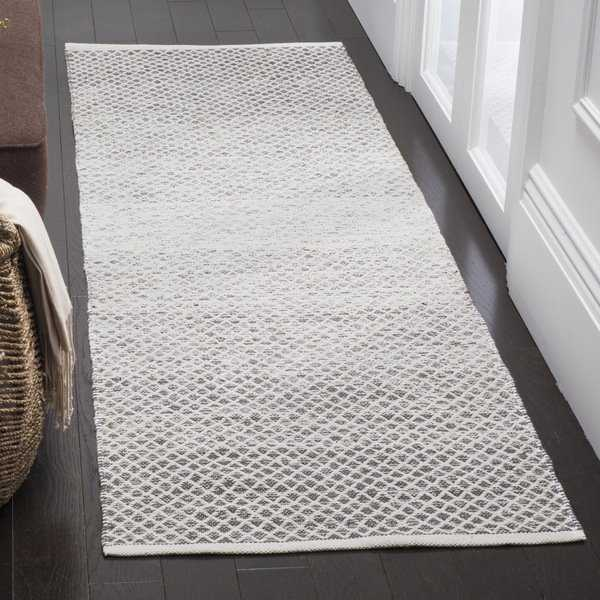 Safavieh Montauk Hand-Woven Flatweave Light Grey/ Ivory Cotton Rug - 2'3 x 7'
