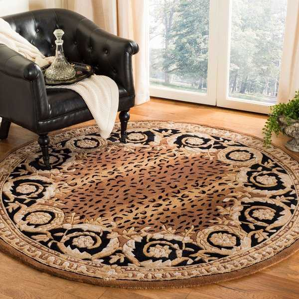 Safavieh Hand-made Naples Black/ Gold Wool Rug - 6' x 6' Round
