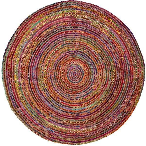 Safavieh Handmade Cape Cod Boho Braided Red/ Multi Cotton Rug - 3' x 3' round