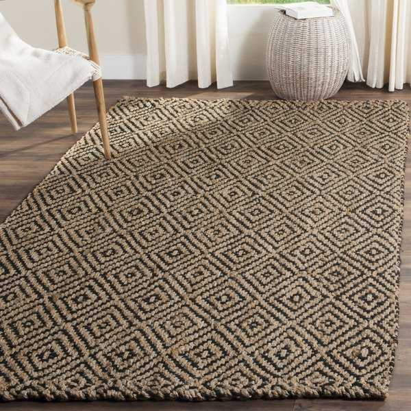 Safavieh Handmade Natural Fiber Diamond Geo Natural/ Black Jute Rug - 4' x 6'