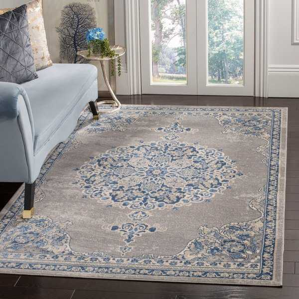 Safavieh Brentwood Traditional Oriental Light Grey / Blue Rug - 9' x 12'
