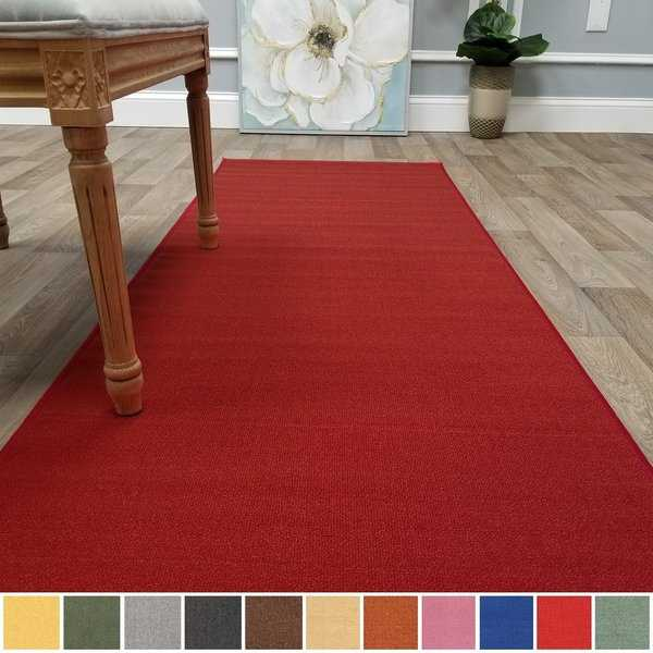 Kapaqua Solid Colored Non-Slip Runner Rug Rubber Backed 2x8 - 1'10' x 8'