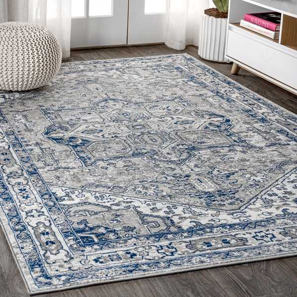 JONATHAN Y Modern Persian Vintage Medallion Light Grey/Navy Distressed Area Rug